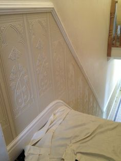 Along with installing the Lincrusta, the customer had beautiful coving re instated and a lovely dado rail along with original cast radiators. Description from scotdecorators.co.uk. I searched for this on bing.com/images