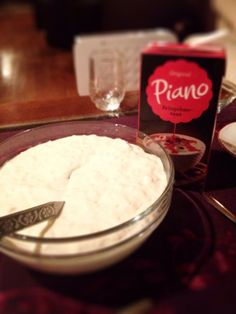 Riskrem, a sweet, rich and creamy rice pudding; a classic Norwegian  Christmas dessert served with raspberry sauce..Heaven!