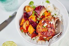 For a fast way to way mix up your weeknight chicken routine, look no further than this boldly seasoned dish. Thanks to a quick honey-chipotle marinade, meaty chicken thighs and chunks of sweet potatoes pick up spicy, smoky flavor with a bit of sweetness. And since we're making this on a sheet pan, your whole dinner is ready at once — easy prep and easy cleanup!