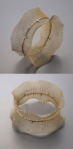 Bangle | Sowon Joo.  18k yellow gold, diamonds and color diamond beads.