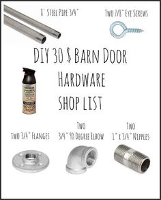 30 easy sliding barn door hardware, diy, doors, kitchen design, rustic furniture