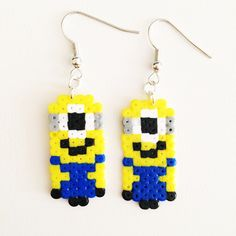 Minions - Despicable Me earrings perler beads by Pixel Empire
