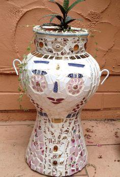 Mosaic pot lady
