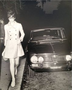 Two Beauties caught in One Frame - Audrey Hepburn and her Alfa Romeo 1750 Berlina was produced by Italian car manufacturer Alfa Romeo from 1968 to 1977.