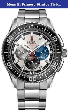 """Mens El Primero Stratos Flyback Striking 10th Watch 03.2060.4057/69.M2060. El Primero Chronograph stop/watch: Features a """"Flyback"""" function, which allows instant restarting of the chronograph with a single push of the button instead of the need to stop, reset & then restart the stop-watch. 30 minute sub-dial counter located at the 3 o'clock position. 12 hour sub-dial counter located at the 6 o'clock position. Running seconds sub-dial located at the 9 o'clock position. Date display window..."""