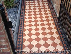 Visit our gallery to view our quality Victorian floor mosaic tiles, encaustic & pathway tiles, garden mosaic, fitted with extraordinary attention to detail. Front Garden Path, Garden Ideas Driveway, Front Path, Front Gardens, Victorian Hallway Tiles, Tiled Hallway, Victorian Front Garden, Victorian Houses, Front Door Paint Colors