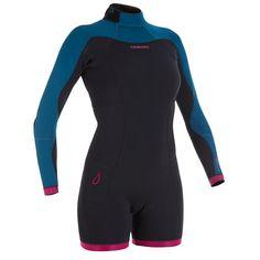 afb9226a13e0 Combinaison SURF shorty 900 Néoprène Manches Longues Femme bleu rose OLAIAN