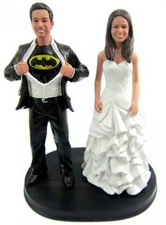 Custom Wedding Cake Topper with Batman Belle and their German
