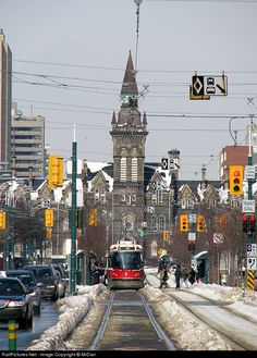 The former University of Toronto Knox College, now called Spadina Crescent, towers over the Spadina streetcar right-of-way as a lone CLRV. York University, University Of Toronto, Travel Around The World, Around The Worlds, Toronto Ontario Canada, Toronto Travel, Canada Travel, Gta, Geography