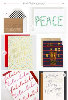 Seasonal Stationery: 2013 Holiday Cards, Part 2   1. Sugar Paper; 2. Sycamore Street Press; 3. Ferme à Papier; 4. Ladyfingers Letterpress; 5. Missive; 6. Hello!Lucky   Click through for full links and resources!