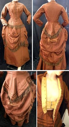 Day dress, late 1860-early1870s. Bodice, overskirt, & underskirt in cinnamon silk faille with satin ribbon and fringe.