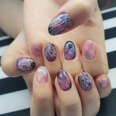 Dream catcher x marble galaxy by senior nail artist Ying #thenailartelier #hajilane #kembangan #nailart #nailswag #nailstagram by thenailartelier