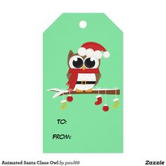 Animated Santa Claus Owl Pack Of Gift Tags