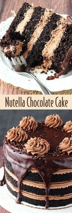 Nutella Chocolate Cake - Layers of dark chocolate cake and Nutella buttercream topped with chocolate ganache! SO good!