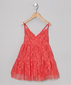 Take a look at this Coral Rose Lace Surplice Dress - Toddler & Girls by Designer Kidz on #zulily today!
