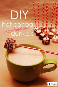 This would be fun at a party - hot coco dunkers. Kids could make the dunkers and then use them during a movie or other fun group activity.