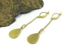 Gold Long Earrings , Teardrop earrings, Drop jewelry, Simple jewelry, Bridesmaids Gift ,Bridal Jewelry, Geometric jewelry, Dainty earrings