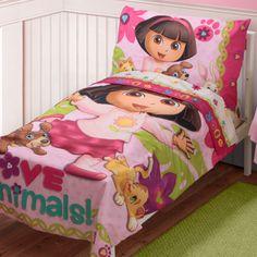 Dora Explorer Love Animals 4 Piece Toddler Bedding Set