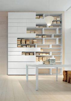 LINE Bookcase by ALBED by Delmonte design Daniele Lo Scalzo Moscheri Furniture Plans, Furniture Design, Office Furniture, Modular Furniture, Luxury Furniture, Diy Furniture, Regal Design, Modular Walls, Bookshelf Design