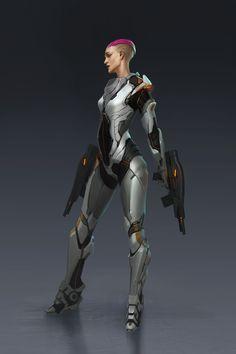 ArtStation - Sci-fi suit female, Jianli Wu