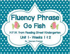 Fluency Phrase Go Fish for Reading Street Kindergarten  FREE