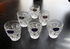 Vintage Lead Crystal Bohemia Queen's Lace Hand Cut Set of 6 Shot Glasses