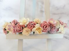 Dusty pink is a popular colour for flower crown. I think ivory goes well with dusty pink.  >>>>>>>>>>>>>>>>>>>>>>>>>>>>>>>>  Mulberry paper flowers