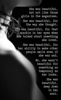Definition of beauty quotes for all the women. Share your Whatsapp friends, especially to girls. She was beautiful, but not like those girls in the magazines. She was beautiful, for the way she thought. Great Quotes, Quotes To Live By, Inspirational Quotes, Motivational, Sexy Quotes For Her, Awesome Quotes, She Was Beautiful, Beautiful Words, Beautiful Soul