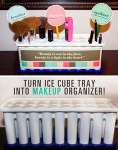 Repurposed Ice Cube Tray | Sneaky Storage Ideas for Teen Girls Room
