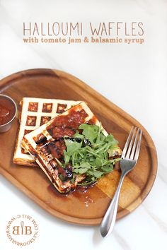 Halloumi cheese waffles with tomato jam and balsamic syrup