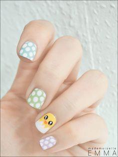 Easter Chick |nail art | cute | blue pink green| polka dots | love | ideas |