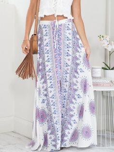 Trendy tribal print boho split skirt. This midi skirt is perfect to wear with brown trendy half boots! Length(cm) :S:100cm,M:101cm,L:102cm,XL:103cm Waist Size(cm) :S:64cm,M:66cm,L:68cm,XL:70cm Size Av