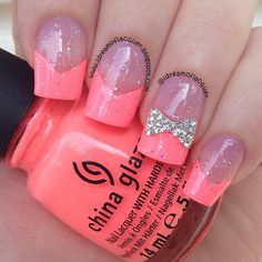 Cool pink french tips with sparkle on top and a silver bow on the party nail.  Can this be done?