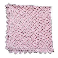 Gestrickte Babydecke aus weicher Baumwolle. Ein schönes Geschenk zur Geburt oder Taufe.    Farbe: Rosa    Decke wie oben abgebildet ist sofort lief... Knitted Afghans, Knitted Blankets, Filet Crochet, Knit Crochet, Crochet Squares, Lace Knitting, Baby Blanket Crochet, Crochet Patterns, About Me Blog