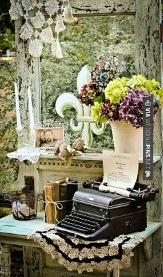 Omg this could actually be really cute but it would be a) hard to find a vintage typewriter that works and b) get guests to actually work it