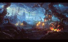 Скачать обои halloween, деревья, монстры, свечи, тыквы, раздел праздники в разрешении 2880x1800