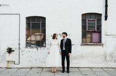 An urban portrait for a wedding couple Hannah and Joe's quirky, indie wedding at… Wedding Poses, Wedding Shoot, Wedding Couples, Wedding Portraits, Wedding Blog, Wedding Photography Styles, Creative Wedding Photography, Quirky Wedding, Wedding With Kids