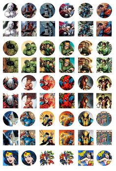 Superheroes from Marvel and DC Comics: Superman, Batman, Spiderman, Captain America, Wonder Woman, Fantastic Four, Hulk, Thor, Iron Man, etc. Free Digital Bottle Cap Images by Folie du Jour