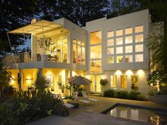 white modern house and patio