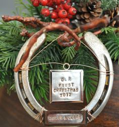 Our First Christmas Ornament, Personalized Christmas Ornament, Cowboy Christmas Ornament, Western Christmas Decoration, $35.00