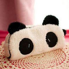 Cute kawaii 3D plush panda pencil case large capacity school supplies noverty item for kids multifunctional free shipping 0017