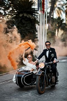 Go inside this couple's destination wedding in Seville, Spain, complete with traditional music, flamenco dancers, and a heart-shaped custard cake. Wedding Photos, Wedding Day, Vespa Wedding, Motorcycle Wedding, Edgy Wedding, Rose Wedding, Wedding Nails, Wedding Reception, Colored Smoke