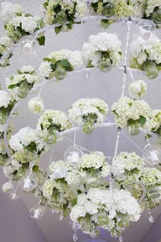 The most incredible floral chandelier EVER! Bunches of hydrangeas and roses with candles amongst them create such a gorgeous statement piece! Photo by Jennifer Stenglein Flowers In Jars, Hanging Flowers, Fresh Flowers, Wedding Bride, Floral Wedding, Wedding Flowers, Wedding Colours, Beautiful Flower Arrangements, Floral Arrangements