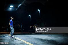 Stock Photo : woman running at nighttime