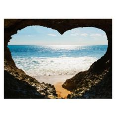 Heart Shaped Sea Image Multicolour Wall Art (W)77cm x (H)57cm: Image 1