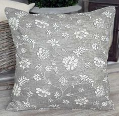 Floral Cement Cushion - - Hicks and Hicks Grey Cushions, Cement, Throw Pillows, Bed, Interior, Floral, House, Lavender, Design