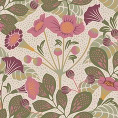 Brewster Home Fashions Wonderland Tropisk Floral x Wallpaper Roll Colour: Pink Wallpaper Roll, Pattern Wallpaper, Leaves Wallpaper, Pink And Green Wallpaper, Brewster Wallpaper, Green Dot, Textiles, Geometric Designs, Geometric Prints