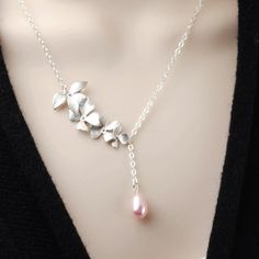 19654afc11b2 Pink Pearl Necklace - Silver Flower Bridesmaid Necklace - Swarovski Pearl  Drop Necklace - Pearl Brid