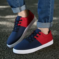 2016 new style patchwork canvas shoes men lace-up breathable shoes round toe fashion flat shoes for men leisure shoes
