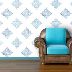 Peel & Stick Moroccan Inspired Wallpaper - Sea Spray - Wall Decals at Hayneedle Modern Wallpaper, Wall Wallpaper, Peel And Stick Wallpaper, Room Of One's Own, Cool Chairs, Self Adhesive Wallpaper, Fabric Panels, Wall Murals, Moroccan